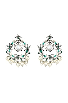 White Finish Kundan Crystal Earrings by Rohita and Deepa