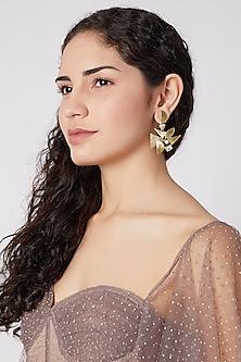 Gold Finish Swarovski & Zirconium Earrings by Rohita and Deepa