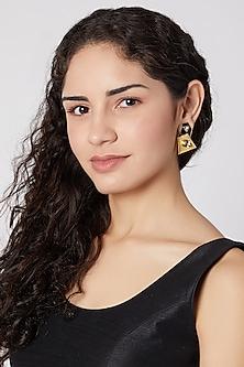 Gold Finish Swarovski Earrings by Rohita and Deepa