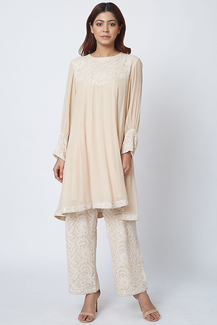 Beige Hand Embroidered Palazzo Pant Set by Romaa