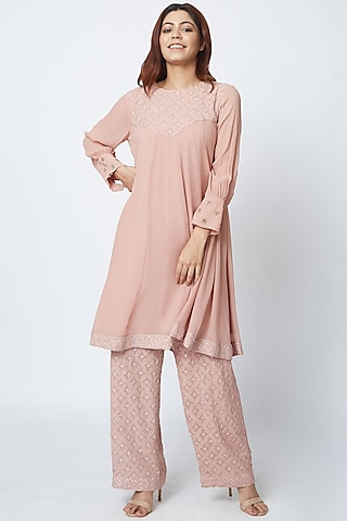 Blush Pink Hand Embroidered Palazzo Pant Set by Romaa