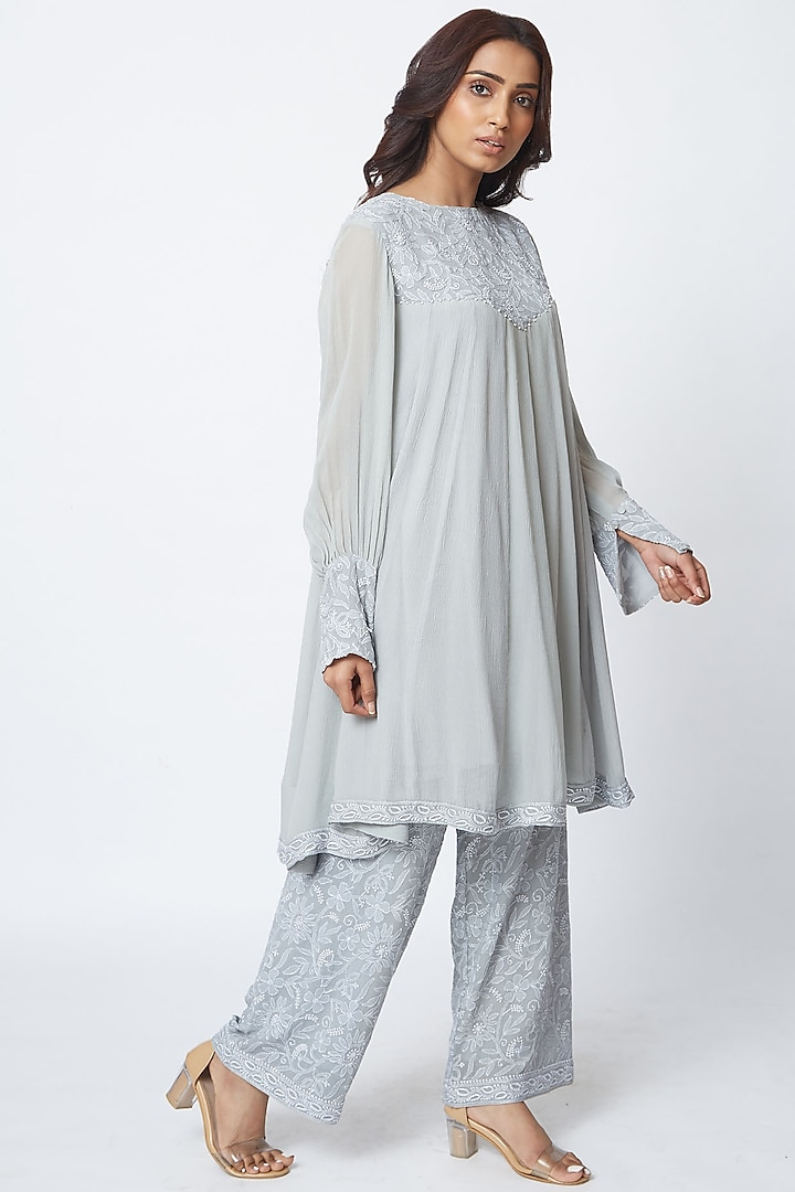 Light Grey Hand Embroidered Palazzo Pant Set by Romaa