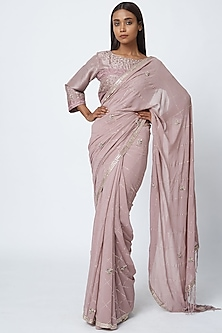 Mauve Hand Embroidered Saree Set by Romaa