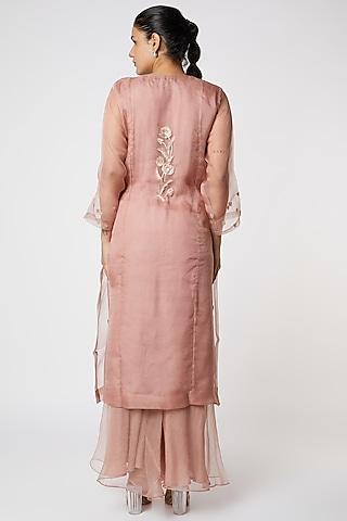 Pink Embroidered Sharara Set by Romaa