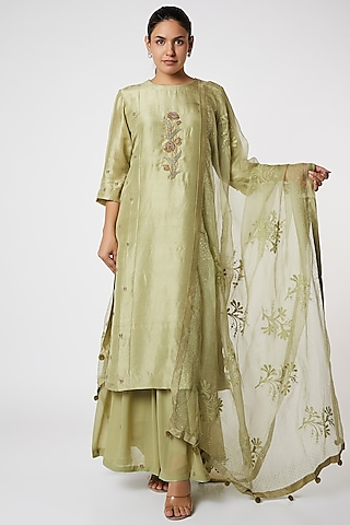 Green Zardosi Embroidered Sharara Set by Romaa
