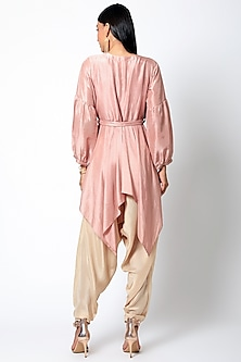 Peach Embroidered Kurta With Pants & Belt by Romaa