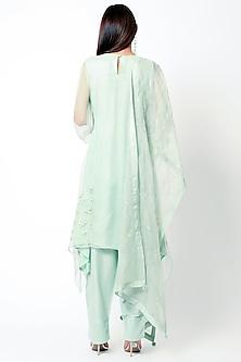 Mint Green Embroidered Kurta Set by Romaa