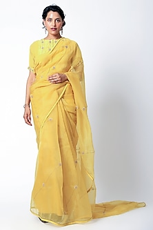Yellow Embroidered Saree Set by Romaa