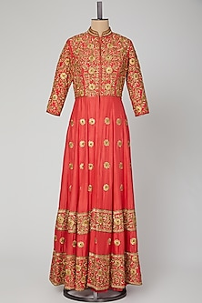 Red Embroidered Jacket With Lehenga by Roora by Ritam