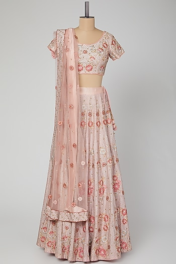 Blush Pink Embroidered Lehenga Set by Roora by Ritam