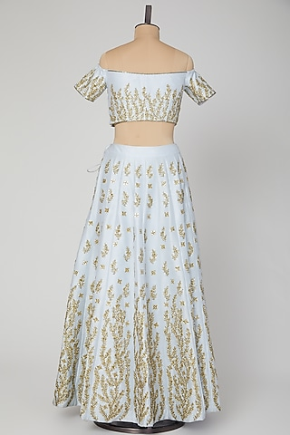 Ice Blue Embroidered Lehenga Set by Roora by Ritam