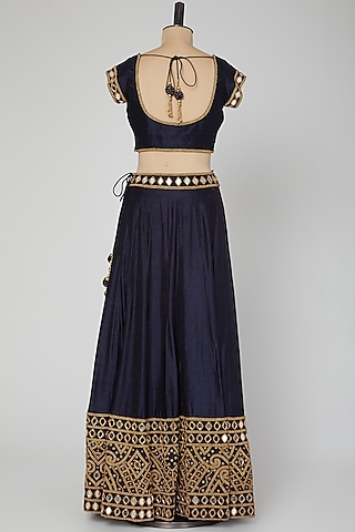 Navy Blue Embroidered Lehenga Set by Roora by Ritam