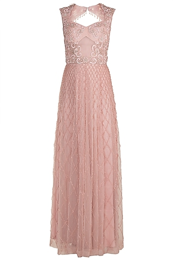 Light Pink Embroidered Gown by Rozina