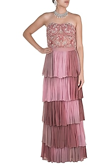 Rose Pink Embroidered Corset With Layered Skirt by Rozina