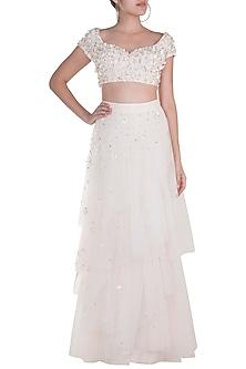 White Embellished Blouse With Layered Skirt by Rozina