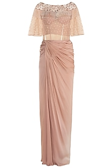 Beige Corset Gown With Embroidered Cape by Rozina