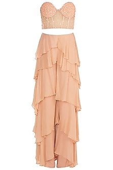 Peach Hand Embroidered Corset With Layered Pants by Rozina