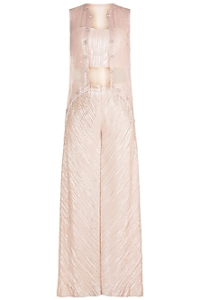 Light Pink Tube Top WIth Palazzo Pants & Embroidered Jacket by Rozina