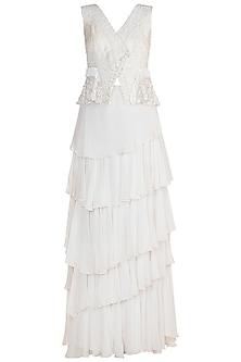 White Embroidered Lehenga Set by Rozina