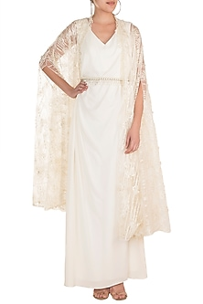 Off White Gown With Belt & Embroidered Cape by Rozina