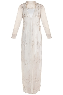 White Cowl Gown WIth Embroidered Jacket by Rozina