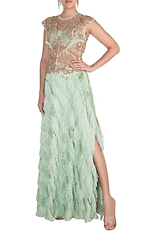 Mint Green Embroidered Blouse With Tassel Skirt by Rozina