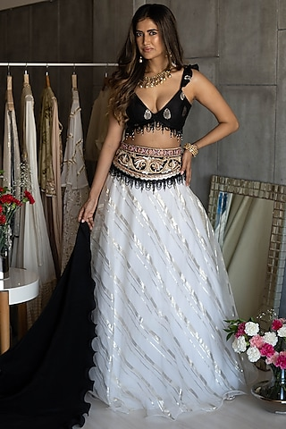 Black & White Embroidered Lehenga Set by Rozina
