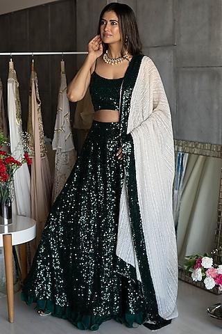 Mehendi Green Embroidered Lehenga Set by Rozina