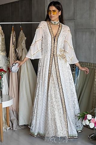 Off White Embroidered Jacket Set by Rozina