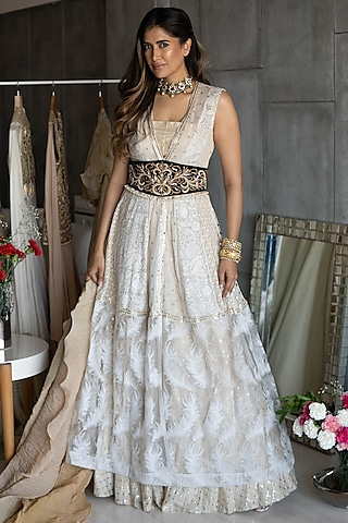 Off White Embroidered Skirt Set by Rozina