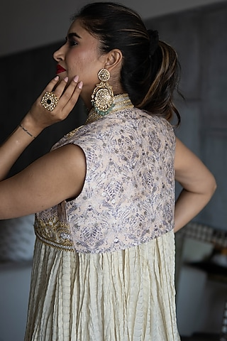 Golden Embroidered Anarkali With Koti by Rozina