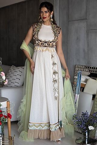 Beige Embroidered Anarkali Set by Rozina
