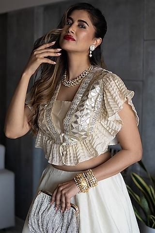 Golden & Off White Embroidered Skirt Set by Rozina