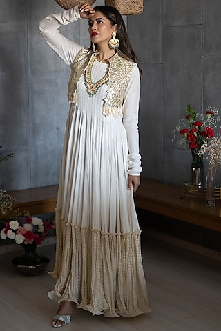 Off White Embroidered Anarkali Set by Rozina