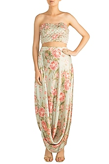 Pista Green & Peach Printed Drape Skirt With Embroidered Tube Blouse by Rozina