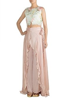 Blue Printed & Embroidered Crop Top With Dull Pink Palazzo Pants by Rozina