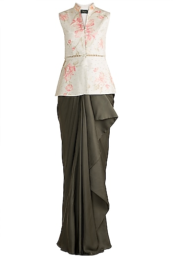 Blue Printed & Embroidered Crop Top With Olive Green Drape Skirt by Rozina