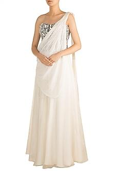 Off White Embellished Drape Skirt With Grey Corset Blouse by Rozina