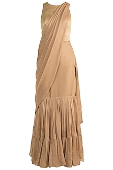 Golden Shimmery Pre-Draped Saree Set by Rozina