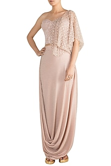 Pink Shimmery Embroidered Blouse With Cowl Skirt by Rozina