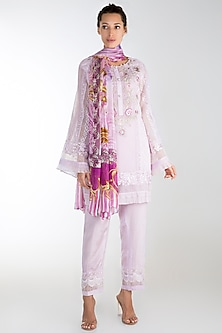 Purple Embroidered Printed Kurta Set by Rozina