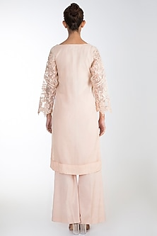 Peach Embroidered Kurta Set by Rozina