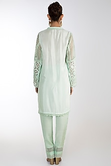 Green Embroidered Printed Kurta Set by Rozina
