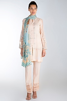 Beige Embroidered Printed Kurta Set by Rozina