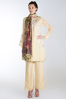 Light Beige Embroidered Printed Kurta Set by Rozina
