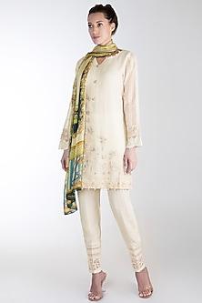 Off White Embroidered Printed Kurta Set by Rozina