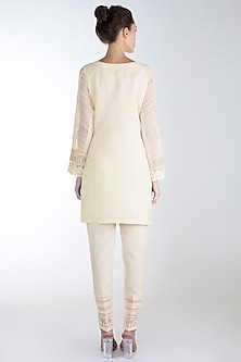 Off White Embroidered Printed Kurta Set by Rozina