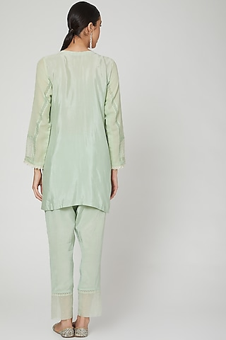 Mint Green Kurta With Pants by Rozina