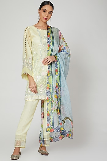 Lemon Yellow Embroidered Kurta Set by Rozina