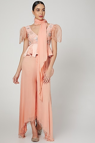 Peach Embroidered Peplum Top With Pants by Rozina
